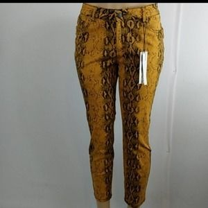 d.jeans Mustard Snake High Rise Ankle Jeans